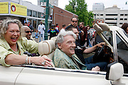 Rock and roll legend Jerry Lee Lewis. This picture shows, Jerry Lee Lewis in a parade down Beale Street, Memphis, Tennessee, at the opening of his club in April, 2013. His 7th wife, Judith Brown, is at left.