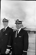 02/06/1964 <br /> 06/02/1964<br /> 02 June 1964<br /> New Aer Lingus pilots. Pilots Wings were presented to nine young airmen by Captain W.J. Scott, Assistant General Manager (Technical) Aer LIngus at Dublin Airport. Picture shows two of the new pilots after the ceremony, Jeromy Hill, Catherine Street, Waterford (left) and Charles Coughlan, Waterfall Road, Cork.