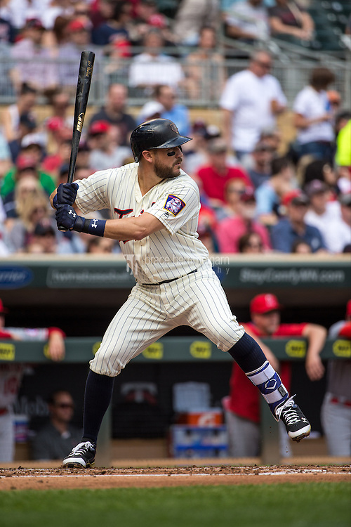 MINNEAPOLIS, MN- APRIL 16: Trevor Plouffe #24 of the Minnesota Twins bats against the Los Angeles Angels of Anaheim on April 16, 2016 at Target Field in Minneapolis, Minnesota. The Twins defeated the Angels 6-4. (Photo by Brace Hemmelgarn) *** Local Caption *** Trevor Plouffe