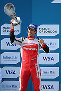 Mahindra Racing driver, Bruno Senna celebrating getting on the podium during Round 9 of Formula E, Battersea Park, London, United Kingdom on 2 July 2016. Photo by Matthew Redman.