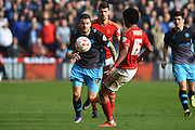 Sheffield Wednesday defender Daniel Pudil  battles with Nottingham Forest midfielder Ryan Mendes during the Sky Bet Championship match between Nottingham Forest and Sheffield Wednesday at the City Ground, Nottingham, England on 12 March 2016. Photo by Jon Hobley.