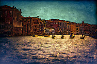 """Silhouette of Gondoliers against the late sun on the Grand Canal near the Church of Santa Maria del Giglio""…<br />