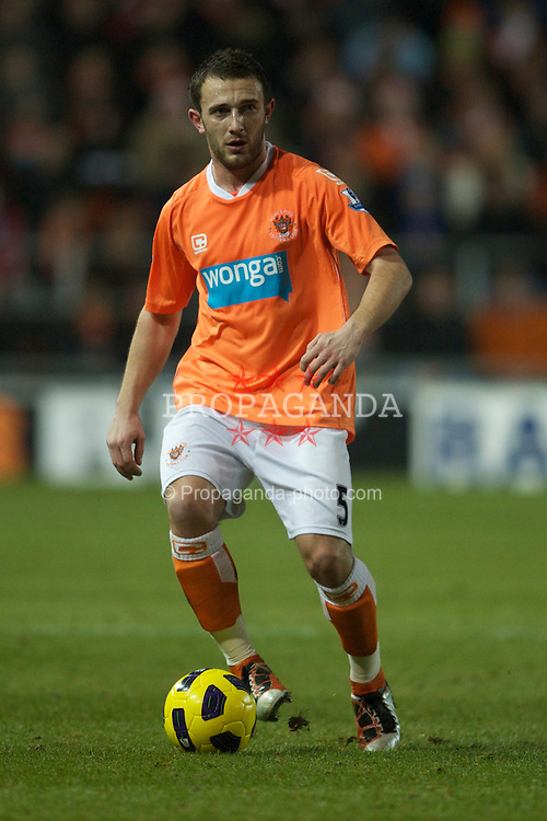 BLACKPOOL, ENGLAND - Tuesday, January 4, 2011: Blackpool's Neal Eardley in action against Birmingham City during the Premiership match at Bloomfield Road. (Pic by: David Rawcliffe/Propaganda)