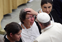 Pope Francis received family members of the victims of the Bastille Day terror attacks in Nice, France, renewing his condolences and promises of prayer for their healing and for the souls of their loved-ones. On 14 July 2016, a 19 tonne cargo truck was deliberately driven into crowds celebrating Bastille Day on the Promenade des Anglais in Nice, France, resulting in the death of 86 people and injuring 434. The pope denounced violence in the name of religion, at the Vatican on September 24, 2016. Photo by Eric Vandeville/ABACAPRESS.COM