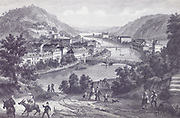 Historic Illustration View of Bad Ems by F. Herchnheim Circa 1850