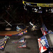January 8, 2014 - New York, NY : Nitro Circus, an action/extreme sports show starring Travis Pastrana, made its Madison Square Garden debut in Manhattan on Wednesday night. Pictured here, Nitro Crew motocross riders including Travis Pastrana, at center on yellow bike, perform during the show. CREDIT : Karsten Moran for The New York Times **SEE LICENSING  RESTRICTIONS IN INSTRUCTION FIELD**