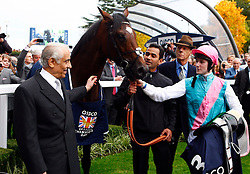 Sir Henry Cecil, 10-time champion trainer, has died at the age of 70.<br /> Responsible for 25 British Classic winners, Cecil was also the leading handler at Royal Ascot with a record 75 successes.<br /> Frankel and Tom Queally  with Sir Henry Cecil and Prince Khalid Abdulla after winning The Qipco Champion Stakes. Ascot 20.10.12<br /> Photo by: Racingfotos.com / i-Images.