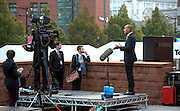 © Licensed to London News Pictures. 23/09/2014. Manchester, UK. Chuka Umunna  gives early morning television interviews. Labour Party Conference 2014 at the Manchester Convention Centre today 23 September 2014. Photo credit : Stephen Simpson/LNP
