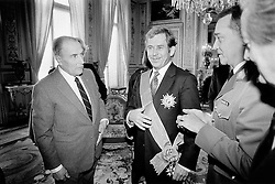 France, 19 March 1990 - Paris. Francois Mitterrand awarding the Grand Croix de la Legion d'Honneur.