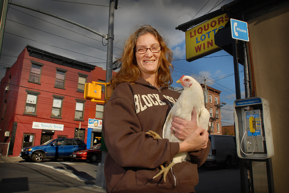 Maria Mackin with chicken in Red Hook, Brookyln. Though her egg business is exempted by a new New York bylaw that bans urban farming she had to destroy her roosters. There is an increasing interest in home farming - all her eggs are sold locally or to people passing by.