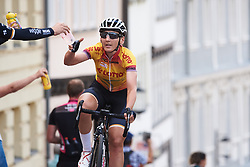Lisa Brennauer (GER) grabs a bottle in the feed zone at Lotto Thuringen Ladies Tour 2018 - Stage 6, a 137.3 km road race starting and finishing in Gotha, Germany on June 2, 2018. Photo by Sean Robinson/velofocus.com