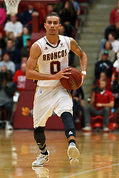 Jan 21, 2012; Santa Clara CA, USA; Santa Clara Broncos guard Evan Roquemore (0) holds the ball against the St. Mary's Gaels during the first half at the Leavey Center.  St. Mary's defeated Santa Clara 93-77. Mandatory Credit: Jason O. Watson-US PRESSWIRE