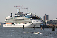 Celebrity Eclipse, the new ship from Celebrity Cruises, tied up in Hamburg, Germany, before making her trip to Southampton..