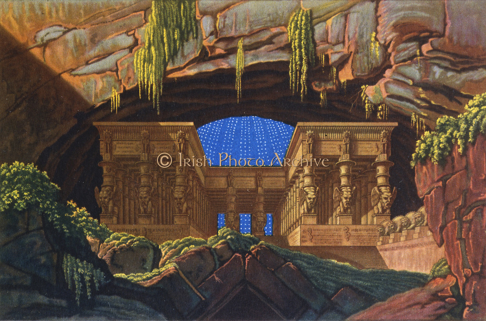 Temple of Isis and Osiris where Sarastro High Priest. 'Die Zauberflote' (The Magic Flute) by Wolfgang Amadeus Mozart (1756-1791).  Plot has overtones of Freemasonry. The Queen of the Night is said to be based on Empress Maria Theresa.  Decor by Karl Friedrich Schinkel, 1816. Biblioteque de l'Opera, Paris