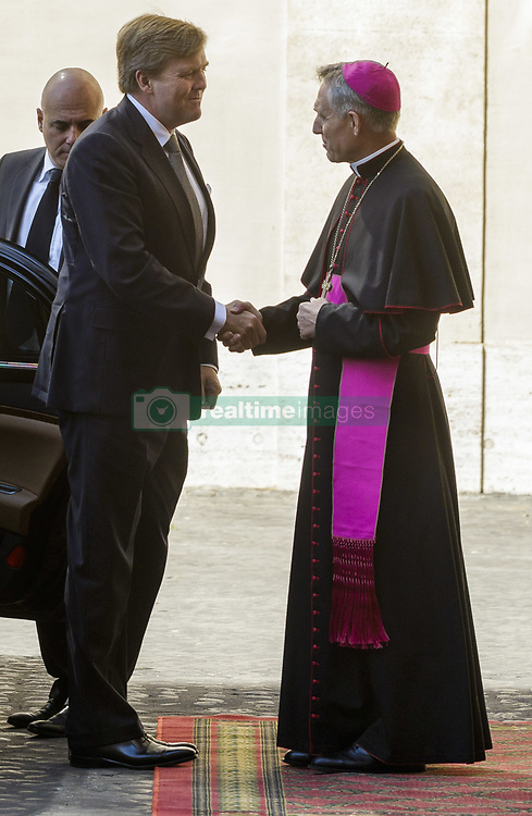 June 22, 2017 - Vatican City, Vatican - King Willem Alexander of the Netherlands is welcomed by Archbishop Georg Gaenswein, prefect of the Papal Household, upon his arrival at the Apostolic Palace to attend a private audience with Pope Francis in Vatican City, Vatican on June 22, 2017. The King and Queen of the Netherlands are in Italy for a 3 day state visit. (Credit Image: © Giuseppe Ciccia/Pacific Press via ZUMA Wire)