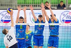 08-06-2013 VOLLEYBAL: EK KWALIFICATIE SLOVENIE - KROATIE: LJUBLJANA<br /> Goran Isek of Croatia vs Mitja Gasparini #6 of Slovenia, Alen Pajenk #2 of Slovenia and Klemen Cebulj #18 of Slovenia during volleyball match between National Teams of Slovenia and Croatia <br /> &copy;2013-FotoHoogendoorn.nl