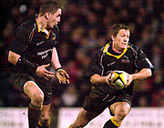 Photo - Peter Spurrier.13/01/2003.Parker Pen Shield European Rugby - Saracens v Newcastle.Jonny Wilkinson looks'to go through the gap.