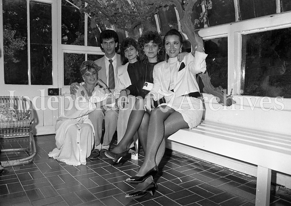 The Greek group for the Eurovision Song Contest are pictured in a reception held in the Ambassador's residance in Dublin (L-R) Amanda Jayne Grant, Stellios Constandinou, Maria Vassiliov, Aphrodite Frida and Roumeliotou, 27/04/1988 (Part of the Independent Newspapers Ireland/NLI Collection).