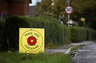 Anti-fracking signs in the village of Inskip, close to the proposed site at Roseacre Wood, Lancashire where fracking firm Cuadrilla has been given permission to undertake construction and testing for shale gas extraction. On 6th October, 2016 UK Government's Communities secretary, Sajid Javid, accepted an appeal from Cuadrilla against an earlier decision to turn down their plans to frack on sites on the Fylde coast.