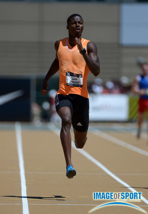 Jun 29, 2014; Sacramento, CA, USA; Curtis Mitchell wins 200m semifinal in a wind-aided 19.99 in the 2014 USA Championships at Hornet Stadium.