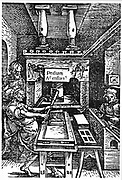 Printing workshop of Bodocus Badius Ascensius in 1521. Note the female compositor.  This is said to be the first printed illustration of a printing press. Woodcut.
