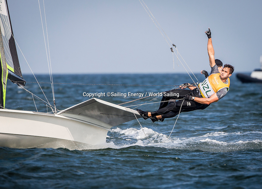 New Zealand sailors Peter Burling and Blair Tuke on their way to winning gold in the 49er class.<br /> The Rio 2016 Olympic Sailing Competition features 380 athletes from 66 nations, in 274 boats racing across ten Olympic disciplines. Racing runs from Monday 8 August through to Thursday 18 August 2016 with 217 male and 163 female sailors racing out of Marina da Gloria in Rio de Janeiro, Brazil. Sailing made its Olympic debut in 1900 and has been a mainstay at every Olympic Games since 1908. For more information or requests please contact Daniel Smith at World Sailing on marketing@sailing.org or phone +44 (0) 7771 542 131.
