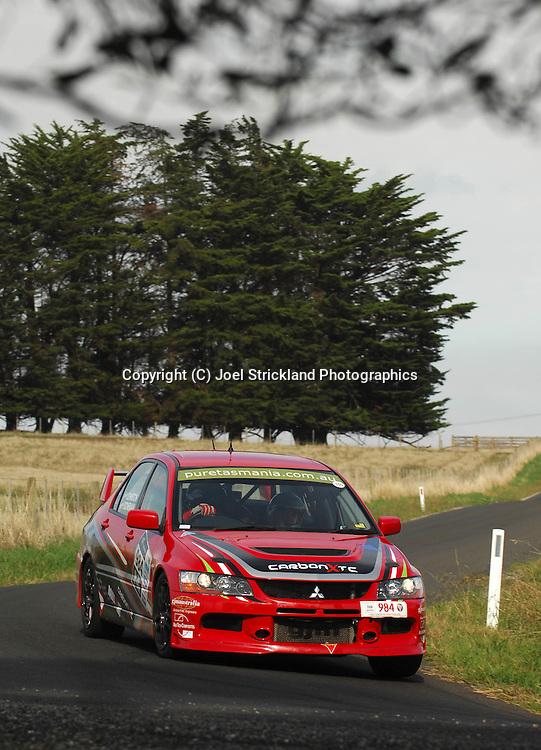 Greg Johnston & Mike Stoneman .2007 Mitsubishi Lancer Evo IX.Day 1.Targa Tasmania 2009.29th of April 2009.(C) Joel Strickland Photographics.