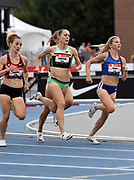 Jul 25, 2019; Des Moines, IA, USA; Elise Cranny (left), Jenny Simpson (center) and Shannon Osika lead a women's 1,500m heat during the USATF Championships at Drake Stadium.