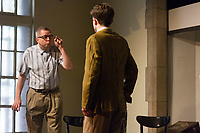 The Hyde Park Community Players performed the Pulitzer Prize and Tony Award winning play, &ldquo;Clybourne Park&rdquo; Friday, May 12th, 2017 and Sunday, May 14th, 2017 at the University Church located at 5655 S. University Ave. The play is an analysis of how the social dynamics of race have changed in 50 years.<br /> <br /> 3890 &ndash; Paul Baker as Dan and Eric Roberts as Karl.<br /> <br /> Please 'Like' &quot;Spencer Bibbs Photography&quot; on Facebook.<br /> <br /> All rights to this photo are owned by Spencer Bibbs of Spencer Bibbs Photography and may only be used in any way shape or form, whole or in part with written permission by the owner of the photo, Spencer Bibbs.<br /> <br /> For all of your photography needs, please contact Spencer Bibbs at 773-895-4744. I can also be reached in the following ways:<br /> <br /> Website &ndash; www.spbdigitalconcepts.photoshelter.com<br /> <br /> Text - Text &ldquo;Spencer Bibbs&rdquo; to 72727<br /> <br /> Email &ndash; spencerbibbsphotography@yahoo.com