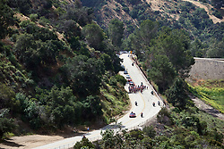 The peloton approach at Amgen Tour of California Women's Race empowered with SRAM 2019 - Stage 2, a 74 km road race from Ontario to Mount Baldy, United States on May 17, 2019. Photo by Sean Robinson/velofocus.com