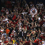 New York Red Bulls fans in action during the New York Red Bulls Vs NYCFC, MLS regular season match at Red Bull Arena, Harrison, New Jersey. USA. 10th May 2015. Photo Tim Clayton