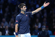 Novak Djokovic (Serbia) disputes a point during the final of the Barclays ATP World Tour Finals at the O2 Arena, London, United Kingdom on 20 November 2016. Photo by Phil Duncan.