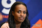 Genzebe Dibaba (ETH) during a news conference at the Intercontinental Doha Hotel-The City, Thursday, May 2, 2019, in Doha, Qatar prior to the 2019 IAAF Diamond League Doha meeting. (Jiro Mochizuki/Image of Sport)