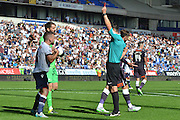 Jay Spearing gets his second yellow for a dive in the area and gets sent off during the Sky Bet Championship match between Bolton Wanderers and Derby County at the Macron Stadium, Bolton, England on 8 August 2015. Photo by Mark Pollitt.