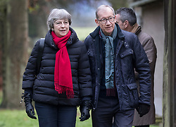© Licensed to London News Pictures. 17/12/2017. Maidenhead, UK. Prime Minister Theresa May attends church with her husband Philip. Photo credit: Peter Macdiarmid/LNP
