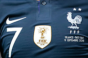 Illustration of the Antoine Griezmann (FRA) jersey embroidered with the second star of FIFA World Champions 2018 during the UEFA Nations League, League A, Group 1 football match between France and Netherlands on September 9, 2018 at Stade de France stadium in Saint-Denis near Paris, France - Photo Stephane Allaman / ProSportsImages / DPPI
