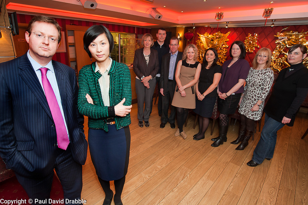 Grant Thornton Chinese Language class at Wong Tings Sheffield..Grant Thornton Partner Paul Houghton with tutor Jinping Xit and the rest of the Class..http://www.pauldaviddrabble.co.uk.8  March 2012 .Image © Paul David Drabble