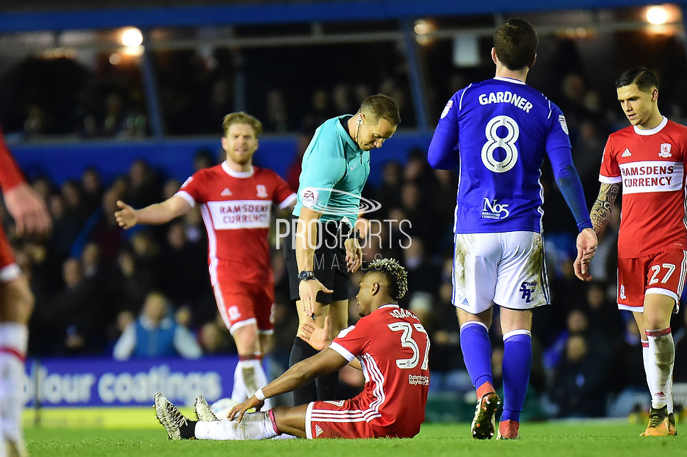Middlesbrough striker Adama Traore (37) is fouled during the EFL Sky Bet Championship match between Birmingham City and Middlesbrough at St Andrews, Birmingham, England on 6 March 2018. Picture by Dennis Goodwin.