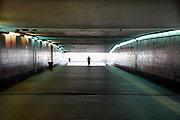 Griekenland, Athene, 5-7-2008..Tunnel naar buiten vanuit de metro. Associatie veiligheid,angst,alleen,licht,hoop...Foto: Flip Franssen