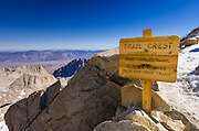 Sign on the Mount Whitney trail at Trail Crest, John Muir Wilderness, Sierra Nevada Mountains, California USA