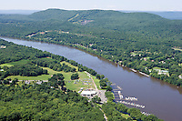 Aerial of Connecticut River near Mount Tom, South Hadley, MA