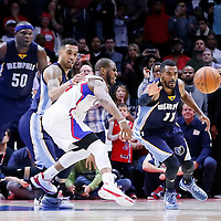 23 February 2015: Memphis Grizzlies guard Mike Conley (11) steals the ball from Los Angeles Clippers guard Chris Paul (3) during the Memphis Grizzlies 90-87 victory over the Los Angeles Clippers, at the Staples Center, Los Angeles, California, USA.