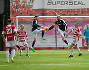 Symmetry as Dundee&rsquo;s Nick Ross and James Vincent go for the ball - Hamilton Academical v Dundee in the Ladbrokes Scottish Premiership at the SuperSeal Stadium, Hamilton, Photo: David Young<br /> <br />  - &copy; David Young - www.davidyoungphoto.co.uk - email: davidyoungphoto@gmail.com