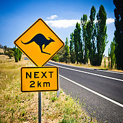 Australian outback sign of a Kangaroo crosssing