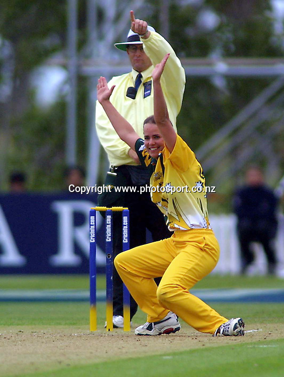 Australian bowler Avril Fahey celebrates the lbw decision by umpire Dave Quested to dismiss Debbie Hockley during the Cricket Info Women's World Cup Final between New Zealand and Australia 23 December, 2000 at the the BIL Oval, Lincoln University, Christchurch, New Zealand. Photo:Andrew Cornaga/PHOTOSPORT