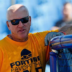 March 16, 2012; Dunedin, FL, USA;  Tampa Bay Rays manager Joe Maddon sports a new haircut before a spring training game against the Toronto Blue Jays at Florida Auto Exchange Stadium. A total of 71 members of the organization including players and club personnel shaved their heads for the charity Cut for a Cure event to raise money and awareness for the Pediatric Cancer Foundation. Mandatory Credit: Derick E. Hingle-US PRESSWIRE