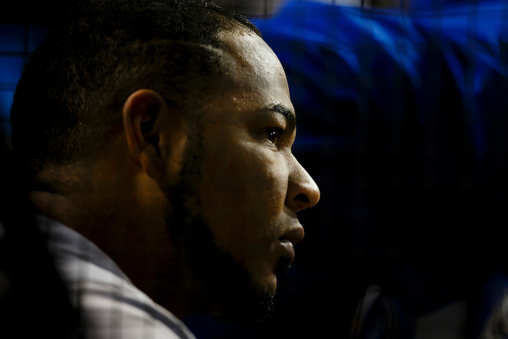 May 1, 2015; Cleveland, OH, USA; Toronto Blue Jays first baseman Edwin Encarnacion (10) watches from the dugout during the eighth inning against the Cleveland Indians at Progressive Field. Mandatory Credit: Rick Osentoski-USA TODAY Sports