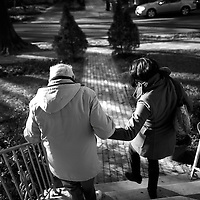 Haddonfield, NJ - Lou Brood, 81, and daughter Elizabeth Wolf, 35, depart her father's singing lesson, held every Tuesday afternoon.  Wolf moved home to New Jersey 5 years ago and has been caring full-time for her parents who both have Alzheimer's.