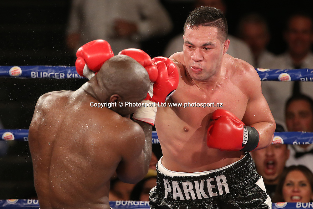 New Zealand Heavyweight boxer Joseph Parker v French Cameroon boxer Carlos Takam. IBF eliminator. Burger King Road to the Title by Duco Boxing. Saturday 21 May 2016. Auckland, New Zealand. © Copyright Photo: Fiona Goodall / www.photosport.nz