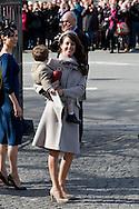 14.04.11. Copenhagen, Denmark..Princess Marie's and Prince Henrik's leaves the Holmens Church after christening ceremony..Photo: Ricardo Ramirez
